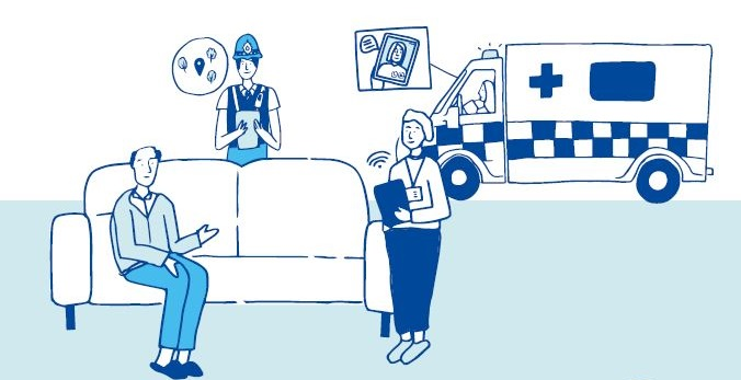 sketch of a patient, paramedics and an ambulance